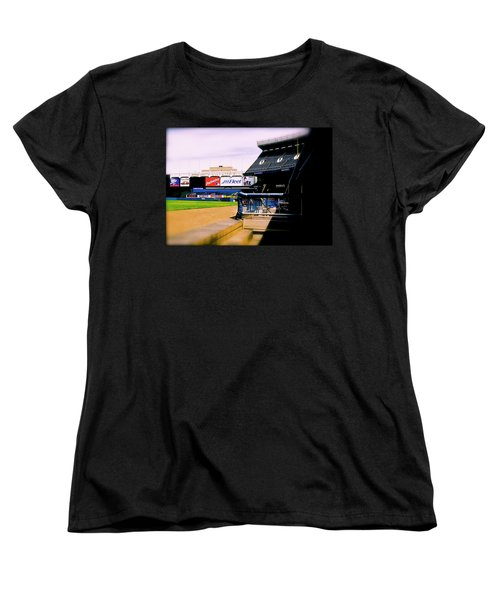 Women's T-Shirt (Standard Cut) featuring the photograph From The Dugout  The Yankee Stadium by Iconic Images Art Gallery David Pucciarelli