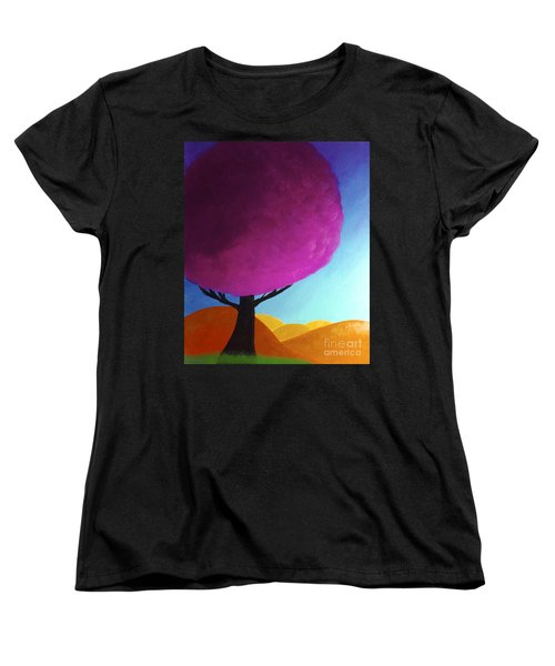 Women's T-Shirt (Standard Cut) featuring the painting Fuchsia Tree by Anita Lewis
