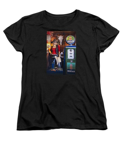 Full Service Route 66 Gas Station Women's T-Shirt (Standard Cut) by Priscilla Burgers