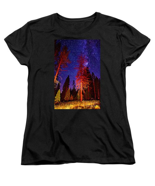 Women's T-Shirt (Standard Cut) featuring the photograph Galaxy Stars By The Campfire by Jerry Cowart