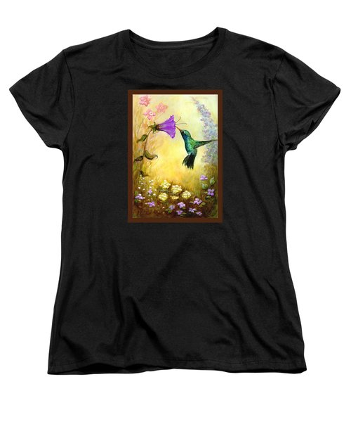 Women's T-Shirt (Standard Cut) featuring the mixed media Garden Guest In Brown by Terry Webb Harshman