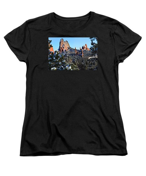 Women's T-Shirt (Standard Cut) featuring the photograph Garden Of The Gods After Snow Colorado Landscape by Jon Holiday