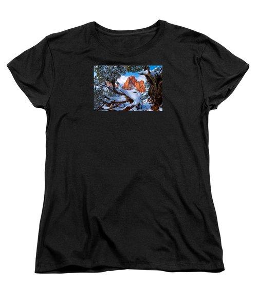 Garden Of The Gods Framed By Juniper Trees Women's T-Shirt (Standard Cut) by John Hoffman