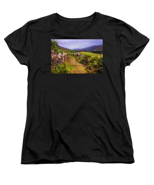 Gates On The Road. Wicklow Hills. Ireland Women's T-Shirt (Standard Cut) by Jenny Rainbow
