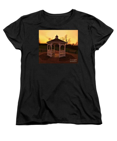 Women's T-Shirt (Standard Cut) featuring the photograph Gazebo In Sunset by Becky Lupe