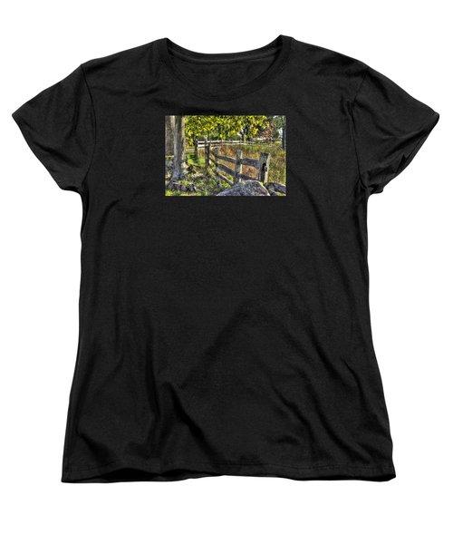 Women's T-Shirt (Standard Cut) featuring the photograph Gettysburg At Rest - Late Summer Along The J. Weikert Farm Lane by Michael Mazaika