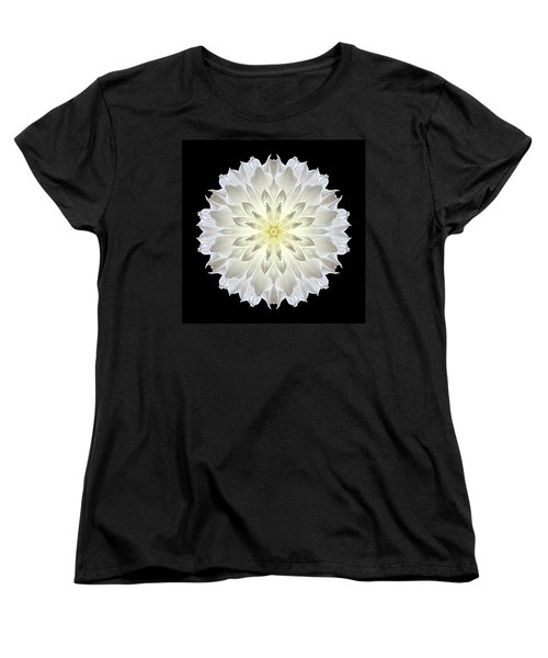 Giant White Dahlia Flower Mandala Women's T-Shirt (Standard Cut) by David J Bookbinder