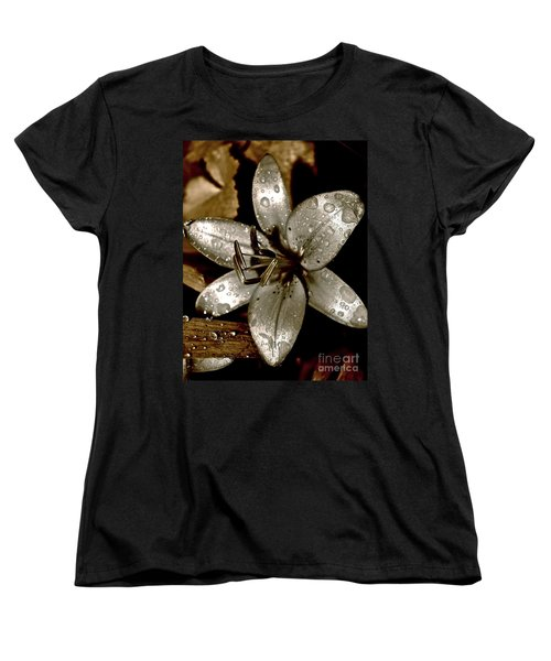 Women's T-Shirt (Standard Cut) featuring the photograph Gilded  Lilies 2 by Linda Bianic