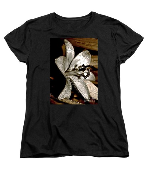 Women's T-Shirt (Standard Cut) featuring the photograph Gilded Lilies 3 by Linda Bianic