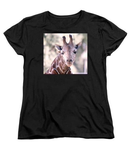 Women's T-Shirt (Standard Cut) featuring the pyrography Giraffe Staring  by Shoal Hollingsworth