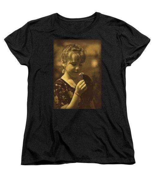 Girl With Flower Women's T-Shirt (Standard Cut) by Hanny Heim
