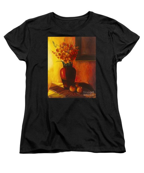 Women's T-Shirt (Standard Cut) featuring the painting Gladioli Red by Marlene Book