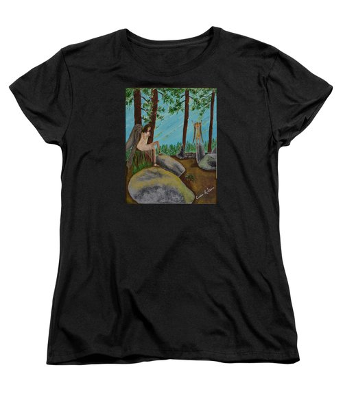 Women's T-Shirt (Standard Cut) featuring the painting God Calls His Angels by Cassie Sears
