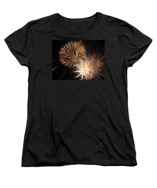 Golden Fireworks Women's T-Shirt (Standard Cut) by Rowana Ray