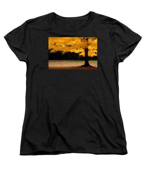 Golden Glow Of Autumn Fall Colors Women's T-Shirt (Standard Cut) by Jeff Folger