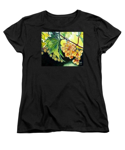 Women's T-Shirt (Standard Cut) featuring the painting Golden Grapes by Julie Brugh Riffey
