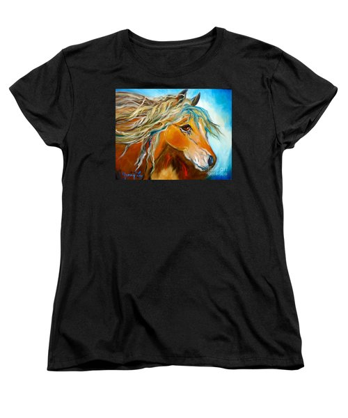 Women's T-Shirt (Standard Cut) featuring the painting Golden Horse by Jenny Lee