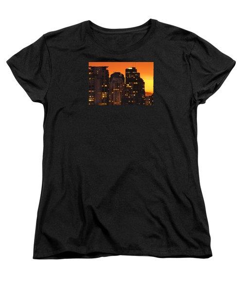 Women's T-Shirt (Standard Cut) featuring the photograph Golden Orange Cityscape Dccc by Amyn Nasser