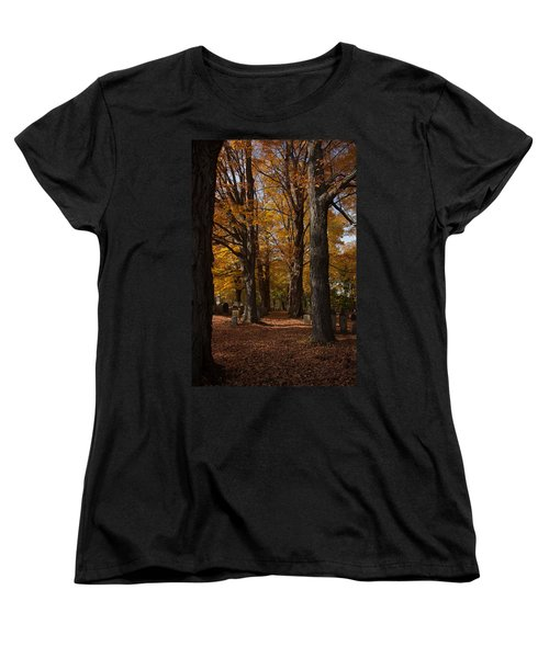 Women's T-Shirt (Standard Cut) featuring the photograph Golden Rows Of Maples Guide The Way by Jeff Folger