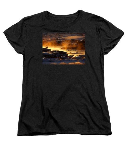 Golden Sea Smoke At Sunrise Women's T-Shirt (Standard Cut) by Dianne Cowen