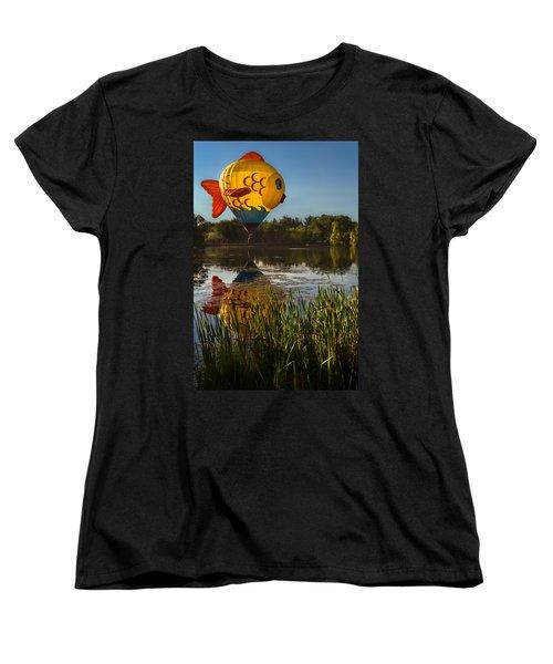 Goldfish Reflection Women's T-Shirt (Standard Cut) by Linda Villers