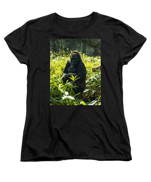Gorilla Sitting On A Stump Women's T-Shirt (Standard Cut)