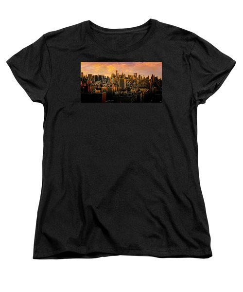 Women's T-Shirt (Standard Cut) featuring the photograph Gotham Sunset by Chris Lord
