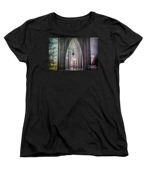 Gothic Arches Hands Folded In Prayer Women's T-Shirt (Standard Cut) by Patricia Babbitt