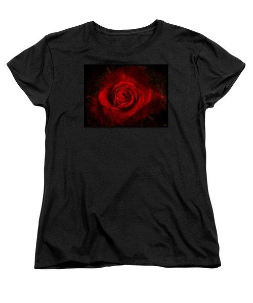 Gothic Red Rose Women's T-Shirt (Standard Cut) by Absinthe Art By Michelle LeAnn Scott