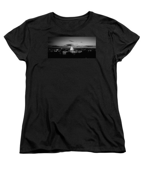 Government Building Lit Up At Night, Us Women's T-Shirt (Standard Cut) by Panoramic Images