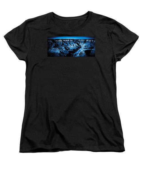 Women's T-Shirt (Standard Cut) featuring the digital art Grand Canyon In Blue by Bartz Johnson