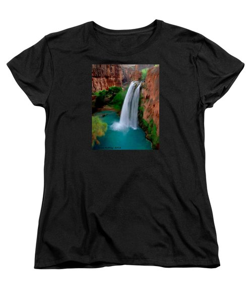 Women's T-Shirt (Standard Cut) featuring the painting Grand Canyon Waterfalls by Bruce Nutting