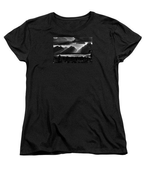 Grand Teton Light Beams Women's T-Shirt (Standard Cut) by Aidan Moran