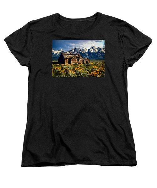Women's T-Shirt (Standard Cut) featuring the photograph Grand Tetons Cabin by John Haldane