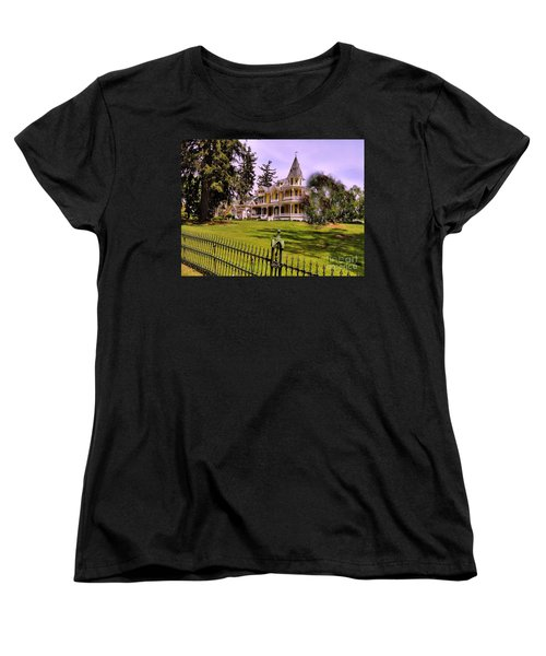 Women's T-Shirt (Standard Cut) featuring the photograph Grand Yellow Victorian And Gate by Becky Lupe