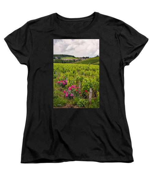 Women's T-Shirt (Standard Cut) featuring the photograph Grapes And Roses by Allen Sheffield
