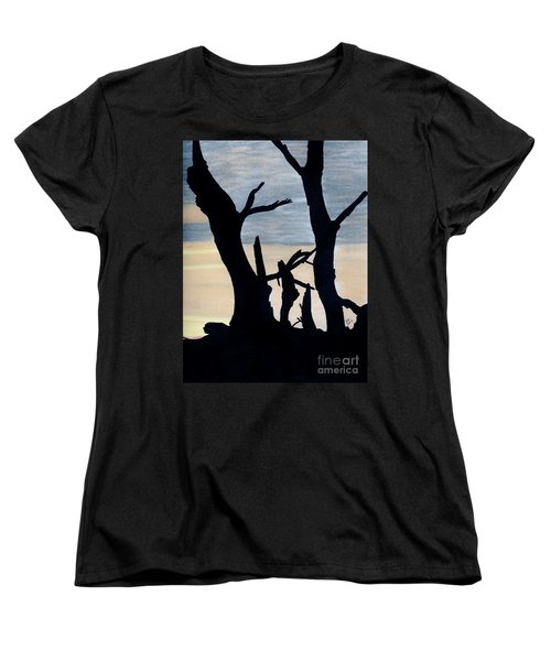 Women's T-Shirt (Standard Cut) featuring the drawing Gray Sunset by D Hackett