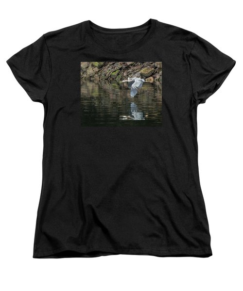 Women's T-Shirt (Standard Cut) featuring the photograph Great Blue Heron Reflections by Jennifer Casey