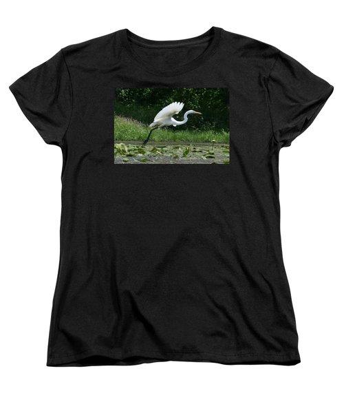 Great Egret Elegance   Women's T-Shirt (Standard Cut) by Neal Eslinger