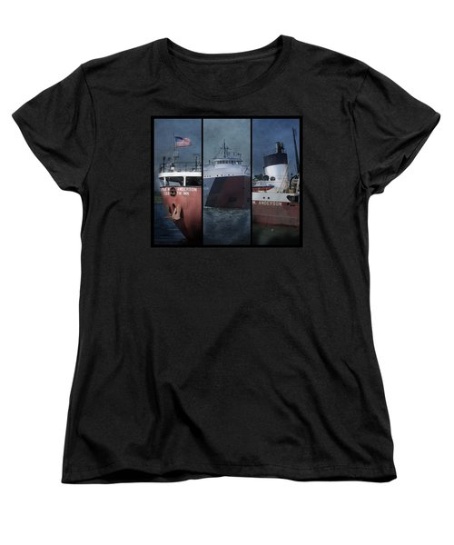 Great Lakes Freighter Triptych Arthur M Anderson Women's T-Shirt (Standard Cut) by Evie Carrier