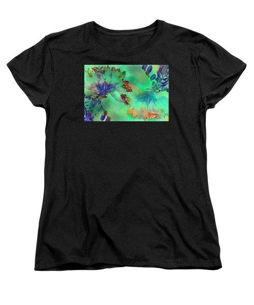 Green Hibiscus Mural Wall Women's T-Shirt (Standard Cut) by Claudia Ellis