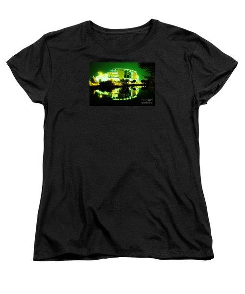 Green Power- Autzen At Night Women's T-Shirt (Standard Cut) by Michael Cross