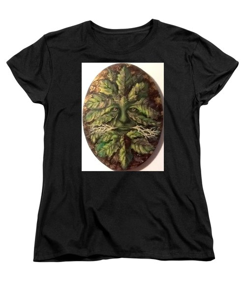 Women's T-Shirt (Standard Cut) featuring the painting Greenman by Megan Walsh