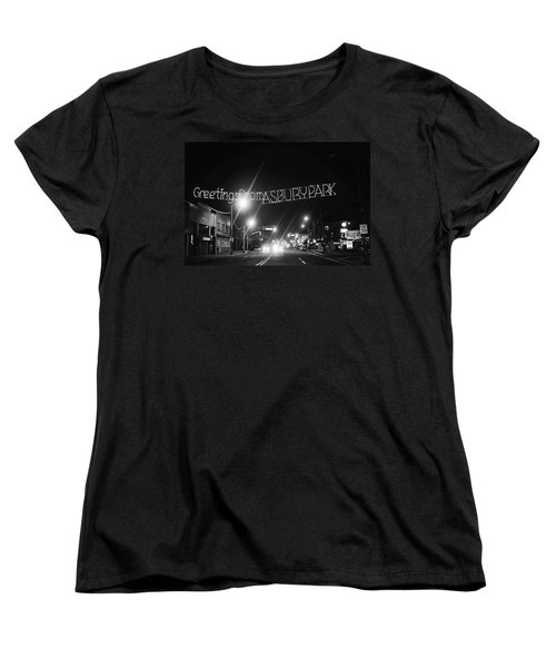 Greetings From Asbury Park New Jersey Black And White Women's T-Shirt (Standard Cut) by Terry DeLuco