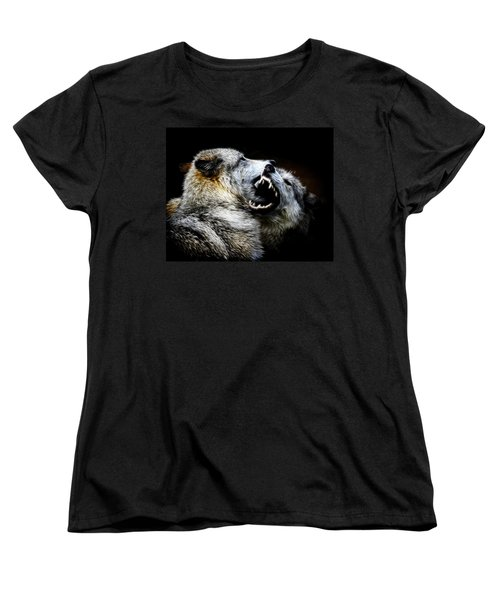 Grey Wolf Fight Women's T-Shirt (Standard Cut) by Steve McKinzie