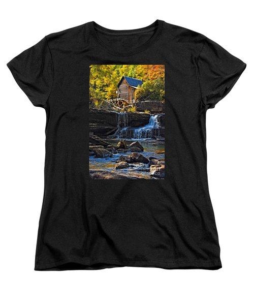 Grist Mill In Babcock State Park West Virginia Women's T-Shirt (Standard Cut) by Kathleen K Parker