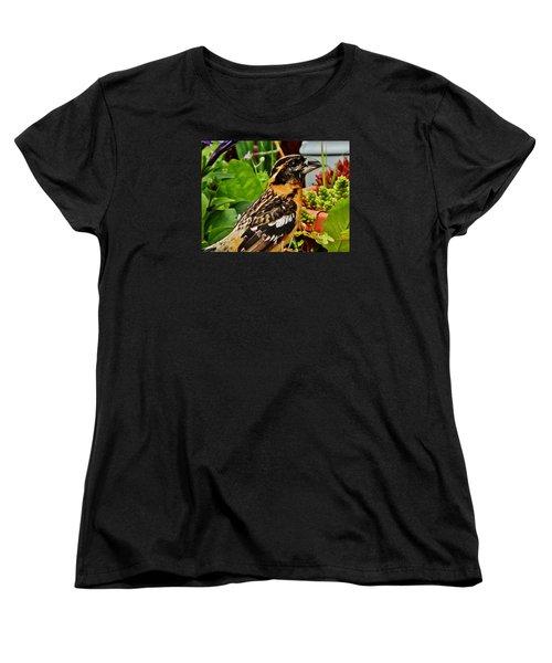 Women's T-Shirt (Standard Cut) featuring the photograph Grosbeak Profile by VLee Watson