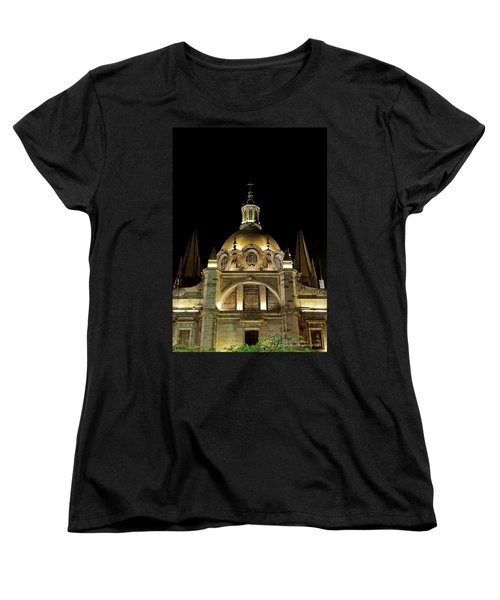 Women's T-Shirt (Standard Cut) featuring the photograph Guadalajara Cathedral At Night by David Perry Lawrence