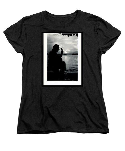 Guitarist By The Sea Women's T-Shirt (Standard Cut)
