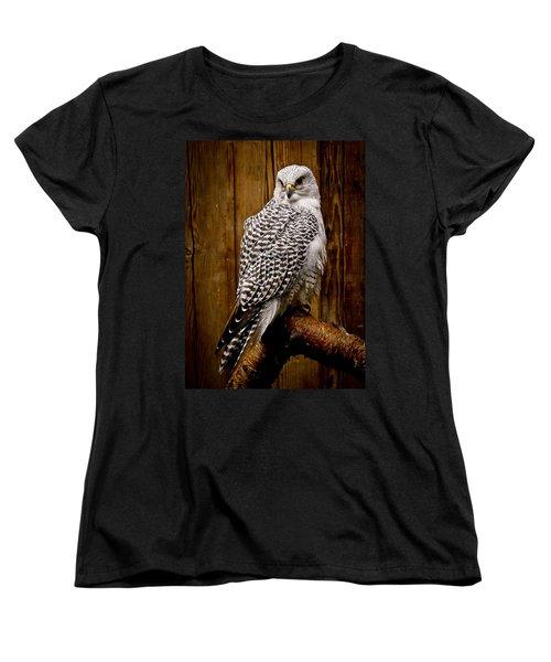 Gyrfalcon Perched Women's T-Shirt (Standard Cut) by Steve McKinzie